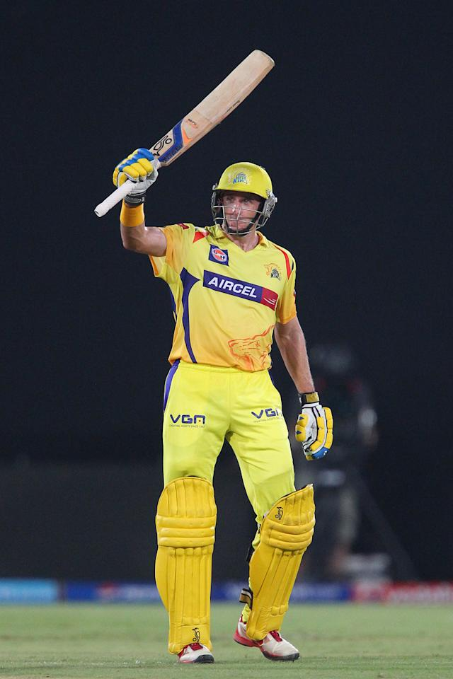 Michael Hussey celebrates his fifty during match 54 of the Pepsi Indian Premier League between The Sunrisers Hyderabad and Chennai Superkings held at the Rajiv Gandhi International  Stadium, Hyderabad  on the 8th May 2013..Photo by Ron Gaunt-IPL-SPORTZPICS ..Use of this image is subject to the terms and conditions as outlined by the BCCI. These terms can be found by following this link:..https://ec.yimg.com/ec?url=http%3a%2f%2fwww.sportzpics.co.za%2fimage%2fI0000SoRagM2cIEc&t=1506444521&sig=NVIwgL1h2Ocxt5mT0Z6rUw--~D