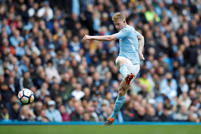 """Soccer Football - Premier League - Manchester City v Swansea City - Etihad Stadium, Manchester, Britain - April 22, 2018 Manchester City's Kevin De Bruyne scores their third goal REUTERS/Phil Noble EDITORIAL USE ONLY. No use with unauthorized audio, video, data, fixture lists, club/league logos or """"live"""" services. Online in-match use limited to 75 images, no video emulation. No use in betting, games or single club/league/player publications. Please contact your account representative for further details."""