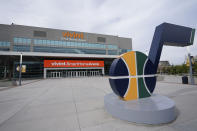 The Vivint Smart Home Arena is shown Monday, Aug. 31, 2020, in Salt Lake City. Voting will look a little different this November. States are considering drive-thrus, outdoor polling places and curbside voting as they examine creative ways to safely offer same-day polling places during a pandemic. (AP Photo/Rick Bowmer)