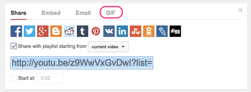 YouTube GIF button