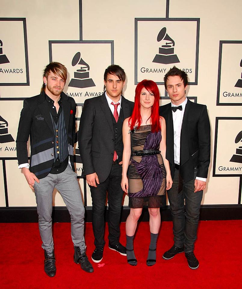 "Pop-punk quartet Paramore (nominated for Best New Artist) made an interesting fashion statement on the red carpet. Did their lead singer, Hayley, really pair a see-thru dress with socks? Steve Granitz/<a href=""http://www.wireimage.com"" target=""new"">WireImage.com</a> - January 10, 2008"