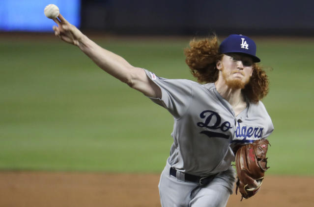 Los Angeles Dodgers starting pitcher Dustin May delivers during the first inning of the team's baseball game against the Miami Marlins, Tuesday, Aug. 13, 2019, in Miami. (AP Photo/Lynne Sladky)