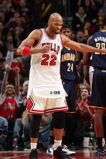 CHICAGO, IL - MARCH 23: Taj Gibson #22 of the Chicago Bulls reacts during the game against the Indiana Pacers on March 23, 2013 at the United Center in Chicago, Illinois. (Photo by Gary Dineen/NBAE via Getty Images)