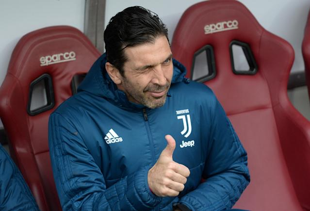 Soccer Football - Serie A - Torino vs Juventus - Stadio Olimpico Grande Torino, Turin, Italy - February 18, 2018 Juventus' Gianluigi Buffon gestures as he is sat on the bench before the match REUTERS/Massimo Pinca