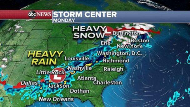 PHOTO: A couple of disturbances will keep bringing heavy rounds of rain across the Southern U.S. from Texas to the Carolinas and rain could be heavy at times with the possibility of rainfall rates exceeding one inch per hour. (ABC News)