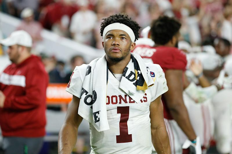 MIAMI, FL - DECEMBER 29: Kyler Murray #1 of the Oklahoma Sooners reacts after losing to the Alabama Crimson Tide in the College Football Playoff Semifinal at the Capital One Orange Bowl at Hard Rock Stadium on December 29, 2018 in Miami, Florida. (Photo by Michael Reaves/Getty Images)