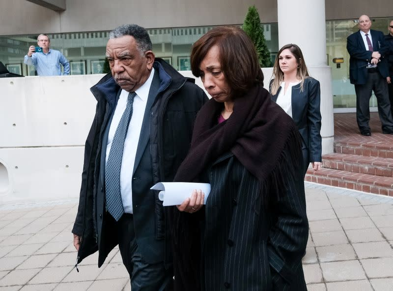 FILE PHOTO:  Former Baltimore Mayor Catherine Pugh departs the U.S. District Court after she was charged with wire fraud and tax evasion related to sales of a self-published children's book, in Baltimore