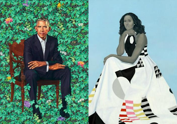 Official portraits of Barack and Michelle Obama. His was painted by Kehinde Wiley; hers was painted by Amy Sherald. (Images courtesy Smithsonian National Portrait Gallery)