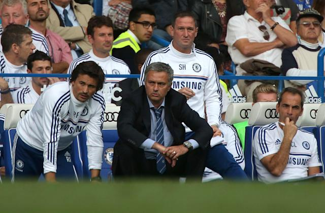 Chelsea manager Jose Mourinho on the touchline.