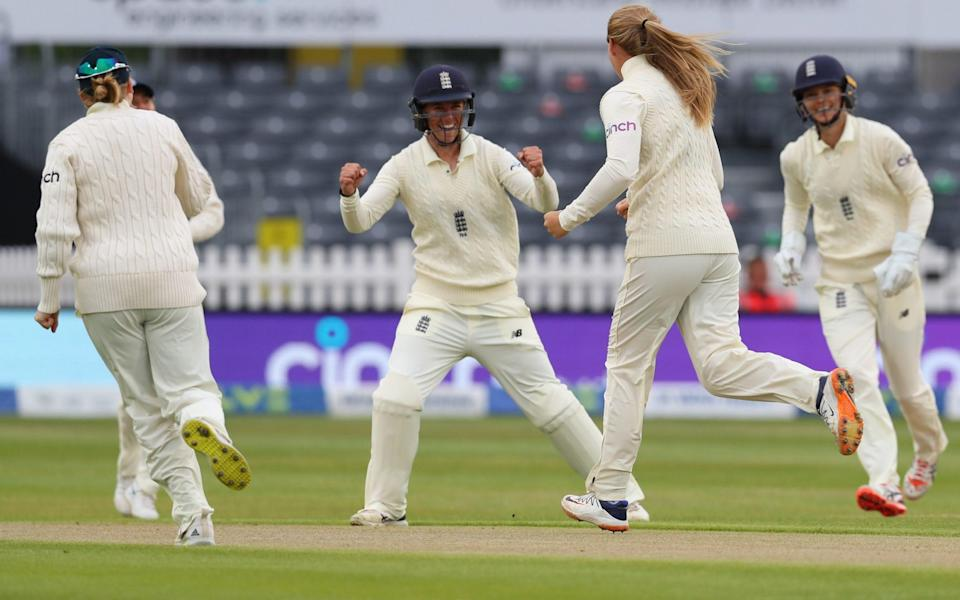 Sophie Ecclestone of England celebrates another wicket to her name on Day Three of the LV= Insurance Test Match between England Women and India Women at the Bristol County Ground on June 18, 2021 in Bristol, England. - GETTY IMAGES