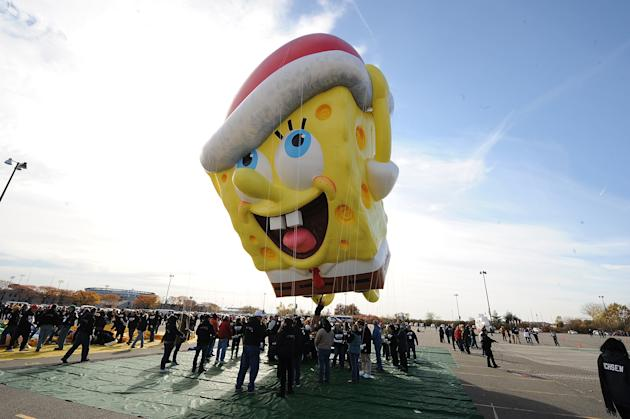 The SpongeBob SquarePants balloon takes a test flight