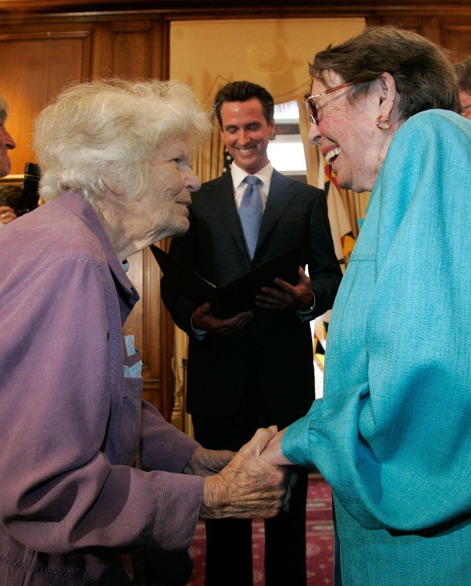 <p>In May 2008, California's Supreme Court disallows a state law banning same-sex marriage, making gay marriage legal in California. </p><p>Here, Del Martin and Phyllis Lyon are married by the then-mayor of San Francisco, Gavin Newsom, at a ceremony at City Hall in June 2008. The couple were one of the first same-sex couples to ever be married in the state.</p>