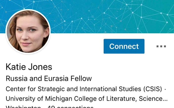 The profile picture for fake expert Katie Jones was created by computer programmes, experts believe - AP