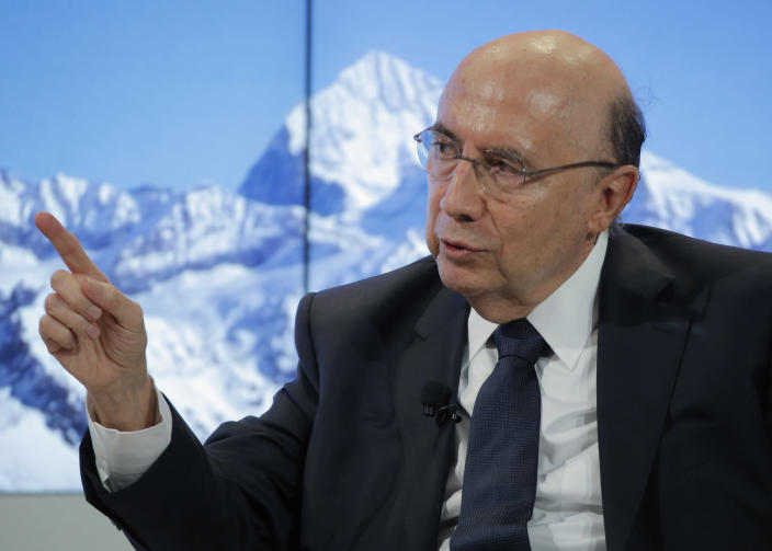 Brazil's Economy Minister Henrique Meirelles speaks during a panel discussion on the second day of the annual meeting of the World Economic Forum in Davos, Switzerland, Wednesday, Jan. 18, 2017. (AP Photo/Michel Euler)