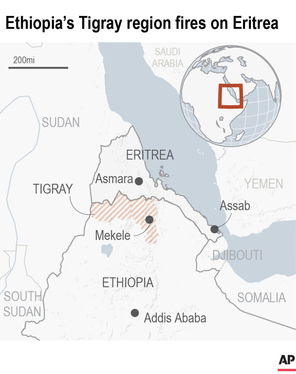 Map locates Eritrea and the Tigray region of Ethiopia