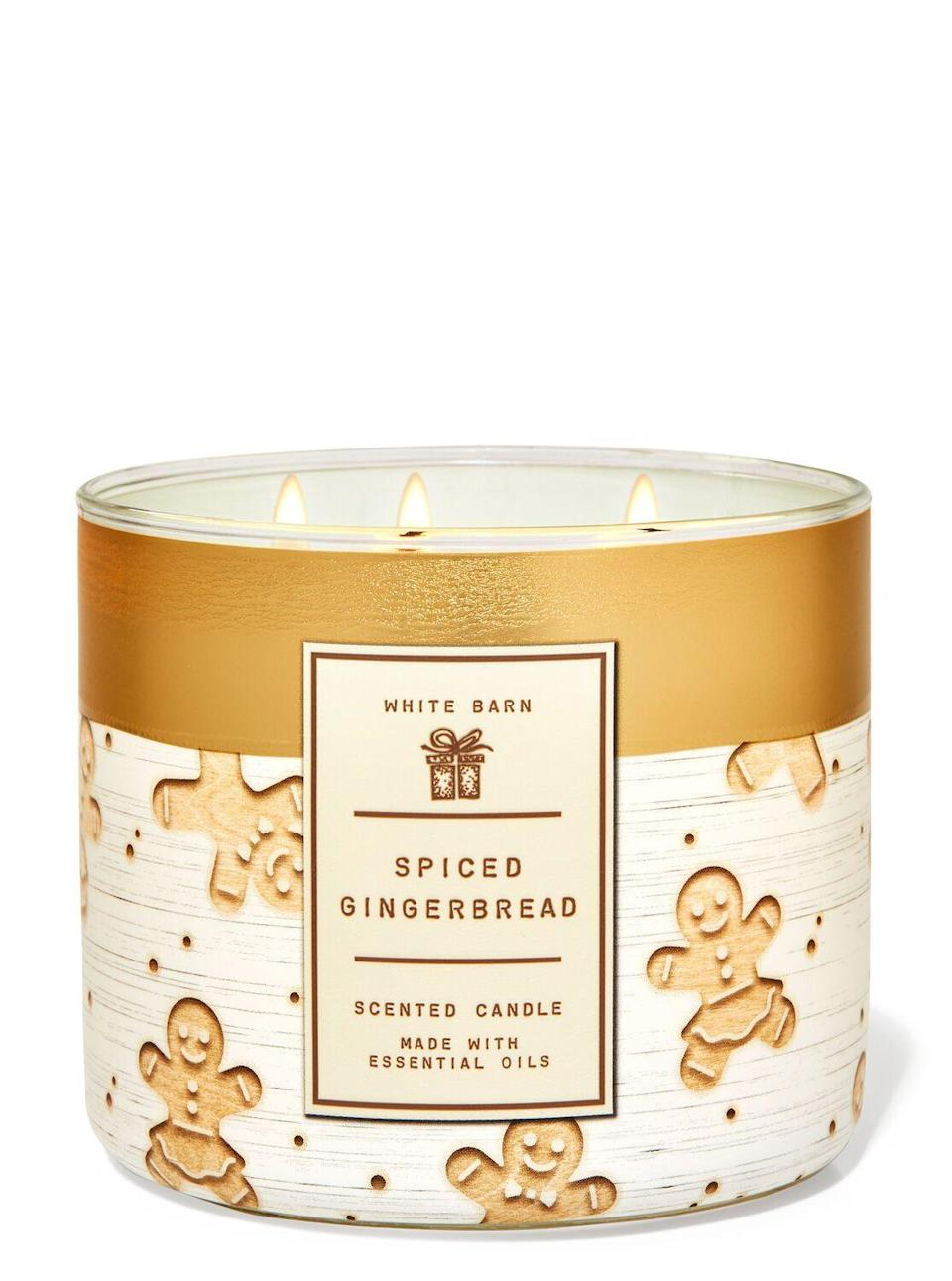 "<p><strong>Bath & Body Works</strong></p><p>bathandbodyworks.com</p><p><strong>$24.50</strong></p><p><a href=""https://www.bathandbodyworks.com/p/spiced-gingerbread-3-wick-candle-026182167.html"" rel=""nofollow noopener"" target=""_blank"" data-ylk=""slk:Shop Now"" class=""link rapid-noclick-resp"">Shop Now</a></p><p>I lit this waxy goodness while watching<a href=""https://www.cosmopolitan.com/entertainment/tv/a34632309/dash-and-lily-netflix-cast-ages/?utm_campaign=cosmo-2020-tradetracker&utm_medium=affiliate&utm_source=tradetracker&utm_term=137180"" rel=""nofollow noopener"" target=""_blank"" data-ylk=""slk:Dash & Lily on Netflix"" class=""link rapid-noclick-resp""> <em>Dash & Lily </em>on Netflix</a> (a pure, low-stakes delight that my pretentious teenage self would have eaten up if it came out in 2010). Cozy? Check. Warm? Check. Festive? Duh. </p><p>When I woke up the next morning my apartment STILL smelled like this and I was not mad about it. </p>"