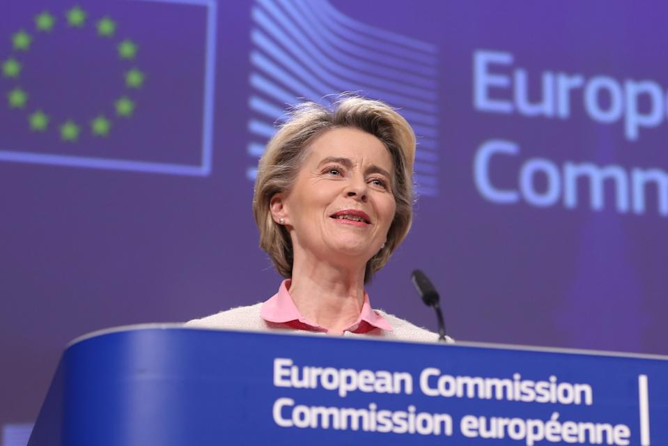 BRUSSELS, Dec. 24, 2020 -- European Commission President Ursula von der Leyen attends a press conference on the post-Brexit trade talks in Brussels, Belgium, Dec. 24, 2020. European Commission President Ursula von der Leyen said on Thursday that the bloc has reached a fair and balanced agreement with the United Kingdom, after a prolonged last-minute negotiation over the sticking points regarding the future relationship. (Photo by Zheng Huansong/Xinhua via Getty) (Xinhua/Zheng Huansong via Getty Images)
