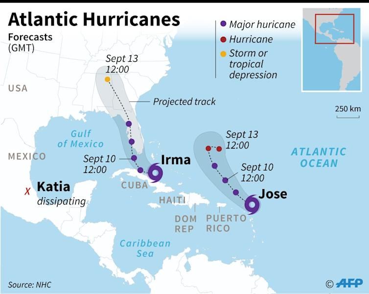 Updated map showing the forecast track of three hurricanes in the Atlantic. (AFP Photo/Sabrina BLANCHARD)