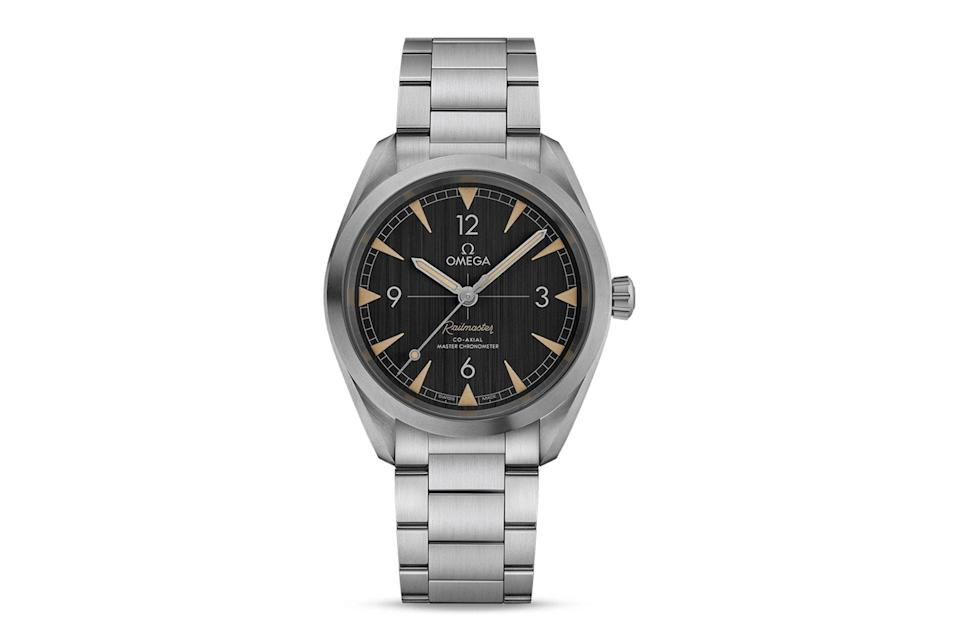 """$5200, Omega. <a href=""""https://www.omegawatches.com/en-us/watch-omega-seamaster-railmaster-omega-co-axial-master-chronometer-40-mm-22012402001001"""" rel=""""nofollow noopener"""" target=""""_blank"""" data-ylk=""""slk:Get it now!"""" class=""""link rapid-noclick-resp"""">Get it now!</a>"""