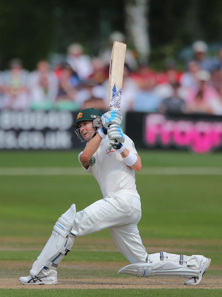 Australia captain Michael Clarke bats during day three of the International Warm up match at New Road against Worcestershire at Worcester. PRESS ASSOCIATION Photo. Picture date: Thursday July 4, 2013. See PA story CRICKET Australia. Photo credit should read: Nick Potts/PA Wire. RESTRICTIONS: Use subject to restrictions. Editorial use only. No commercial use. Call 44 (0)1158 447447 for further information.during day three of the International Tour match at New Road, Worcester. PRESS ASSOCIATION Photo. Picture date: Thursday July 4, 2013. See PA story CRICKET Australia. Photo credit should read: Nick Potts/PA Wire. RESTRICTIONS: Use subject to restrictions. Editorial use only. No commercial use. Call 44 (0)1158 447447 for further information.