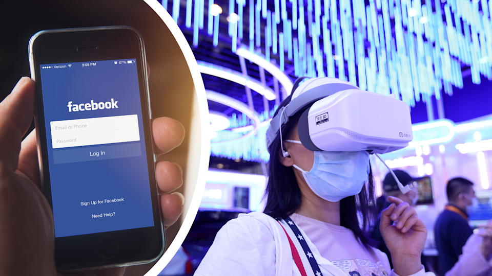 The Facebook login page on a smart phone and a woman wearing virtual reality goggles.