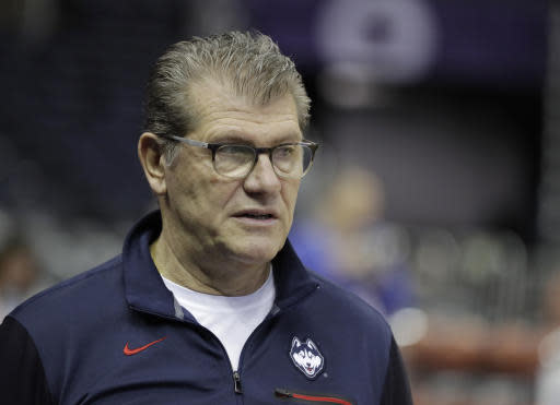 Connecticut head coach Geno Auriemma watches during a practice session for the women's NCAA Final Four college basketball tournament, Thursday, March 29, 2018, in Columbus, Ohio. UConn plays Notre Dame on Friday. (AP Photo/Darron Cummings)