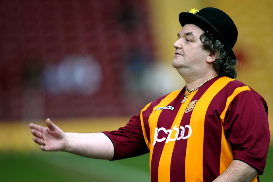 Bradford City have The City Gent as their mascot. He is quite literally a man from Bradford, wearing a hat, tying a scarf around his wrist and walking around the pitch. Each to their own…
