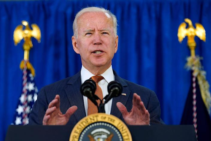 President Joe Biden talks about the May jobs report from the Rehoboth Beach Convention Center in Rehoboth Beach, Del., Friday, June 4, 2021.