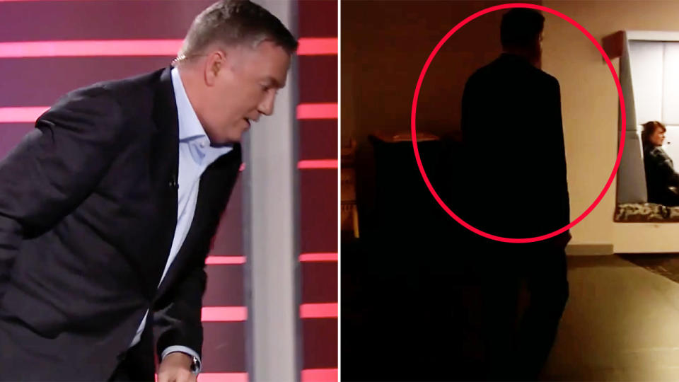 Eddie McGuire, pictured here abruptly walking off the set of Footy Classified.
