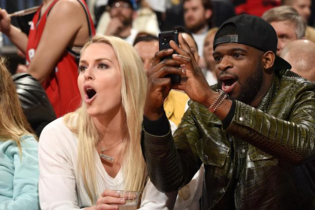 Lindsey Vonn and P.K. Subban attend Game Two of the Eastern Conference Semifinals between the Philadelphia 76ers and the Toronto Raptors during the 2019 NBA Playoffs on April 29, 2019 at Scotiabank Arena in Toronto, Ontario, Canada. (Photo by Ron Turenne/NBAE via Getty Images)