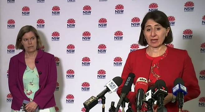 NSW Premier Gladys Berejiklian speaking at a press conference.