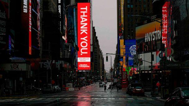 PHOTO: An empty Street is seen in Times Square amid the coronavirus pandemic on April 26, 2020, in New York. (Kena Betancur/AFP/Getty Images)
