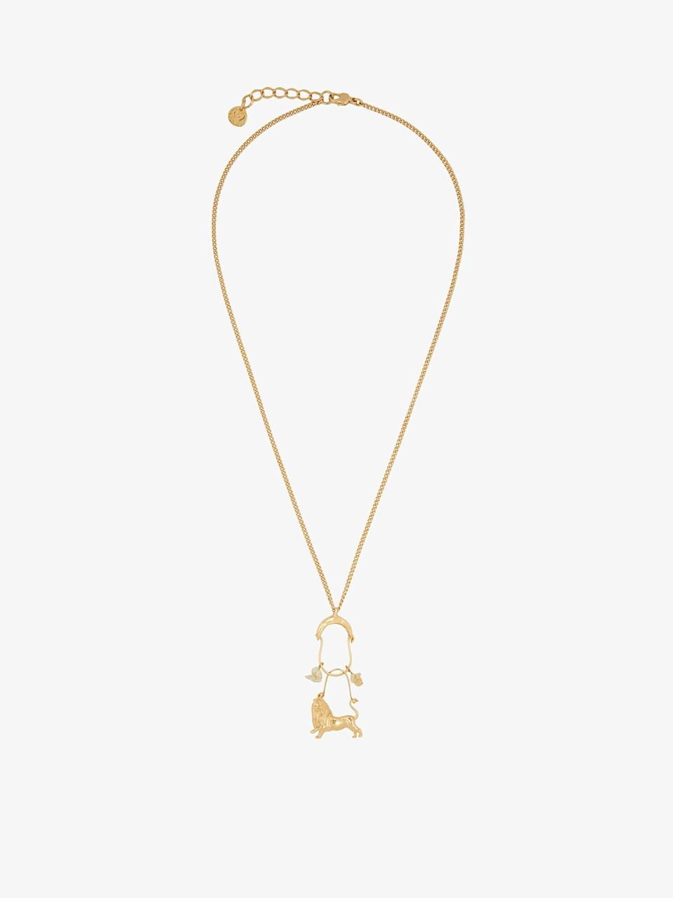 """<p>givenchy.com</p><p><strong>$575.00</strong></p><p><a href=""""https://www.givenchy.com/us/en-US/lion-zodiac-necklace/BF008WF02L-710.html?cgid=JEWELS_W#start=1"""" rel=""""nofollow noopener"""" target=""""_blank"""" data-ylk=""""slk:Shop Now"""" class=""""link rapid-noclick-resp"""">Shop Now</a></p><p>The latest iteration of Givenchy's oversized zodiac jewelry (first introduced by Claire Waight Keller in Fall 2018) includes charm pendants that double as works of art. Here, a piece certainly befitting any Leo. </p>"""