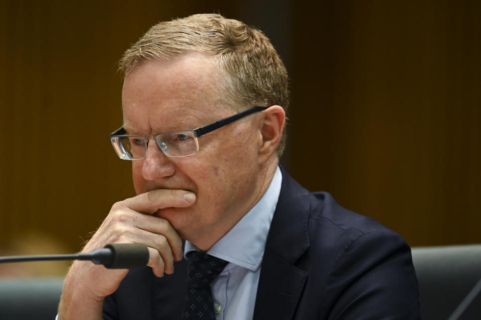 Governor of the Australian Reserve Bank (RBA) Philip Lowe speaks during a hearing of the House Economic Committee at Parliament House in Canberra, Friday, August 9, 2019. (AAP Image/Lukas Coch)