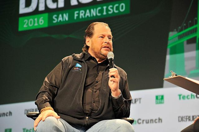 <p>No. 13: University of Southern California<br>Known UHNW alumni: 294<br>Combined wealth: $98 billion<br>Former grad and CEO of Salesforce.com Marc Benioff is seen here.<br>(Photo by Steve Jennings / Getty Images for TechCrunch) </p>