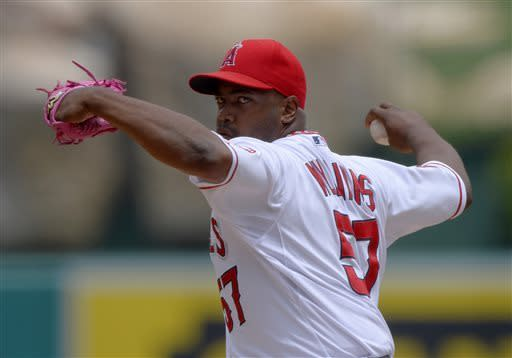 Los Angeles Angels relief pitcher Jerome Williams throws to the plate during the first inning of their baseball game against the Baltimore Orioles, Sunday, May 5, 2013, in Anaheim, Calif. (AP Photo/Mark J. Terrill)
