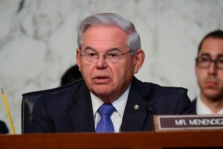 Menendez speaks during Facebook digital currency hearing