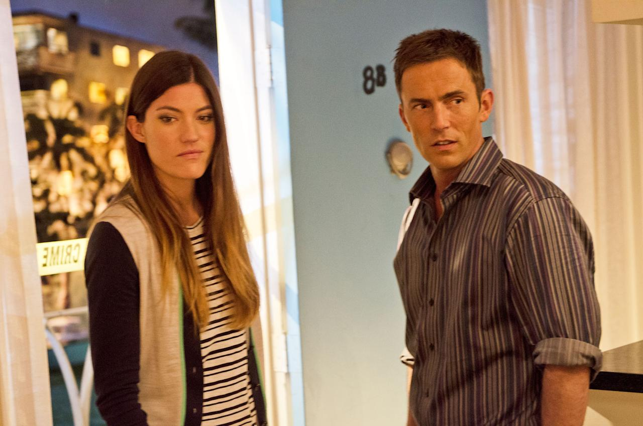 "Jennifer Carpenter as Debra Morgan and Desmond Harrington as Joey Quinn in the ""Dexter"" Season 8 episode, ""Are We There Yet?"""