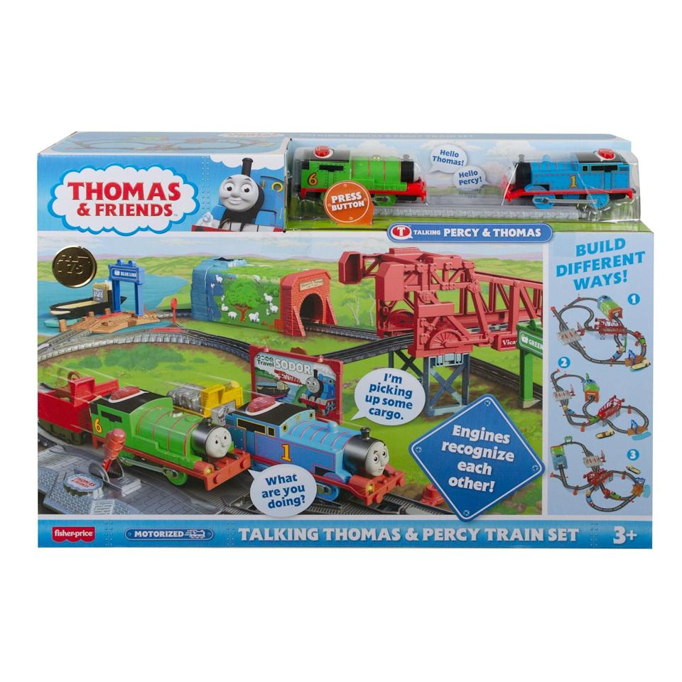 "<p><strong>Thomas & Friends</strong></p><p>walmart.com</p><p><strong>$39.82</strong></p><p><a href=""https://go.redirectingat.com?id=74968X1596630&url=https%3A%2F%2Fwww.walmart.com%2Fip%2F728680875&sref=https%3A%2F%2Fwww.goodhousekeeping.com%2Fholidays%2Fgift-ideas%2Fg4745%2Fgifts-for-boys%2F"" rel=""nofollow noopener"" target=""_blank"" data-ylk=""slk:Shop Now"" class=""link rapid-noclick-resp"">Shop Now</a></p><p>This track has many locations familiar to Thomas fans, including the Vicarstown Bridge, the Railyard and the Brendam docks. But the real fun happens when Thomas and Percy meet each other on the tracks — they stop and talk to each other! <em>Ages 2+</em></p><p><strong>RELATED:</strong> <a href=""https://www.goodhousekeeping.com/childrens-products/toy-reviews/a34370433/good-housekeeping-toy-awards-2020/"" rel=""nofollow noopener"" target=""_blank"" data-ylk=""slk:The 2020 Good Housekeeping Best Toy Awards Are Here!"" class=""link rapid-noclick-resp"">The 2020 Good Housekeeping Best Toy Awards Are Here!</a></p>"