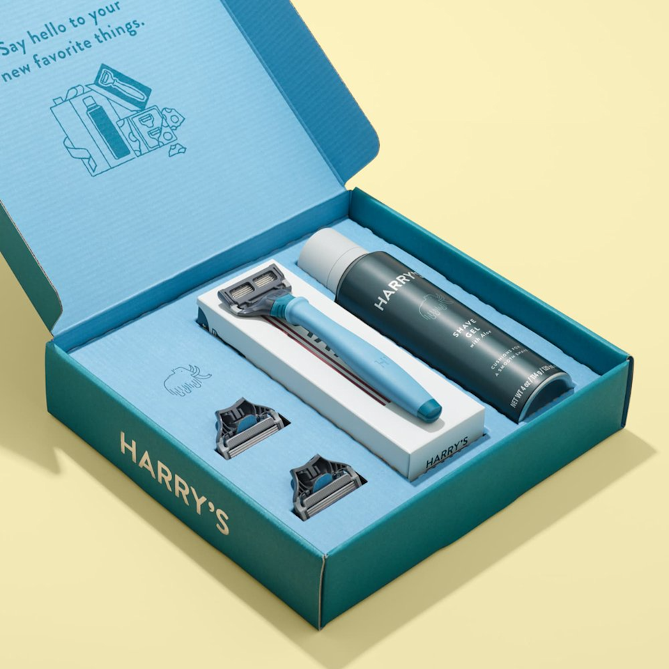 """<h3><a href=""""https://www.walmart.com/ip/Harry-s-Holiday-Gift-Set-with-Limited-Edition-Flurry-Blue-Razor-Handle/399815072"""" rel=""""nofollow noopener"""" target=""""_blank"""" data-ylk=""""slk:Harry's Holiday Gift Set"""" class=""""link rapid-noclick-resp"""">Harry's Holiday Gift Set</a></h3><br>Make 2020 the last year that your boyfriend uses disposable plastic razors. This affordable set from Harry's includes a limited-edition handle colorway, full-size shave gel, and 3 replacement cartridges.<br><br><strong>Harry's</strong> Holiday Gift Set, $, available at <a href=""""https://go.skimresources.com/?id=30283X879131&url=https%3A%2F%2Fwww.walmart.com%2Fip%2FHarry-s-Holiday-Gift-Set-with-Limited-Edition-Flurry-Blue-Razor-Handle%2F399815072"""" rel=""""nofollow noopener"""" target=""""_blank"""" data-ylk=""""slk:Walmart"""" class=""""link rapid-noclick-resp"""">Walmart</a>"""