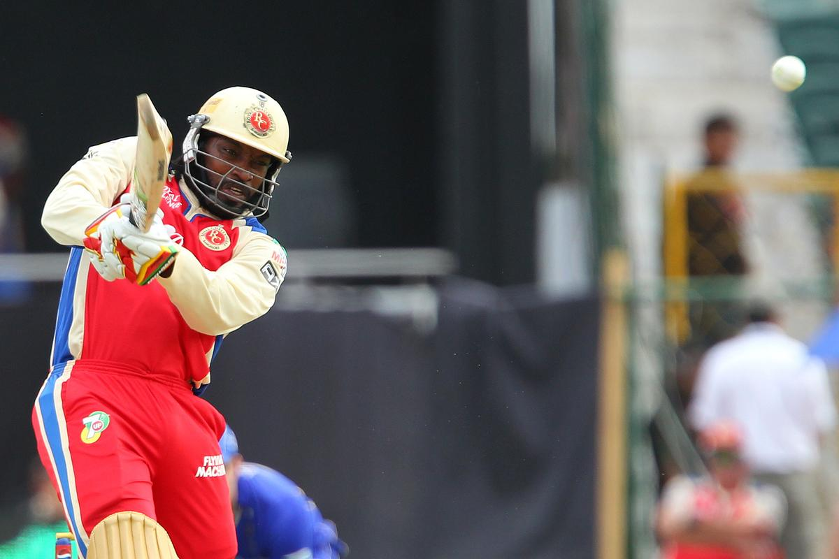 Chris Gayle  during match 40 of the Pepsi Indian Premier League ( IPL) 2013  between The Rajasthan Royals and the Royal Challengers Bangalore held at the Sawai Mansingh Stadium in Jaipur on the 29th April 2013..Photo by Ron Gaunt-IPL-SPORTZPICS ..Use of this image is subject to the terms and conditions as outlined by the BCCI. These terms can be found by following this link:..https://ec.yimg.com/ec?url=http%3a%2f%2fwww.sportzpics.co.za%2fimage%2fI0000SoRagM2cIEc&t=1506392664&sig=QNK.Q.xvaiJ.oNpL1UVEww--~D