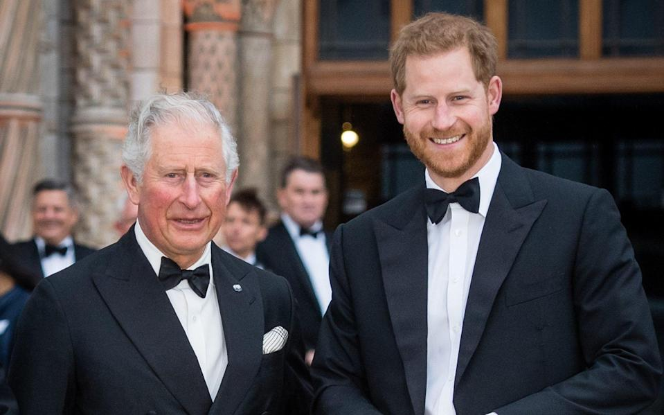 Prince Charles, Prince of Wales and Prince Harry, Duke of Sussex attend the