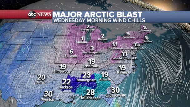PHOTO: Wednesday morning wind chill. (ABC News)