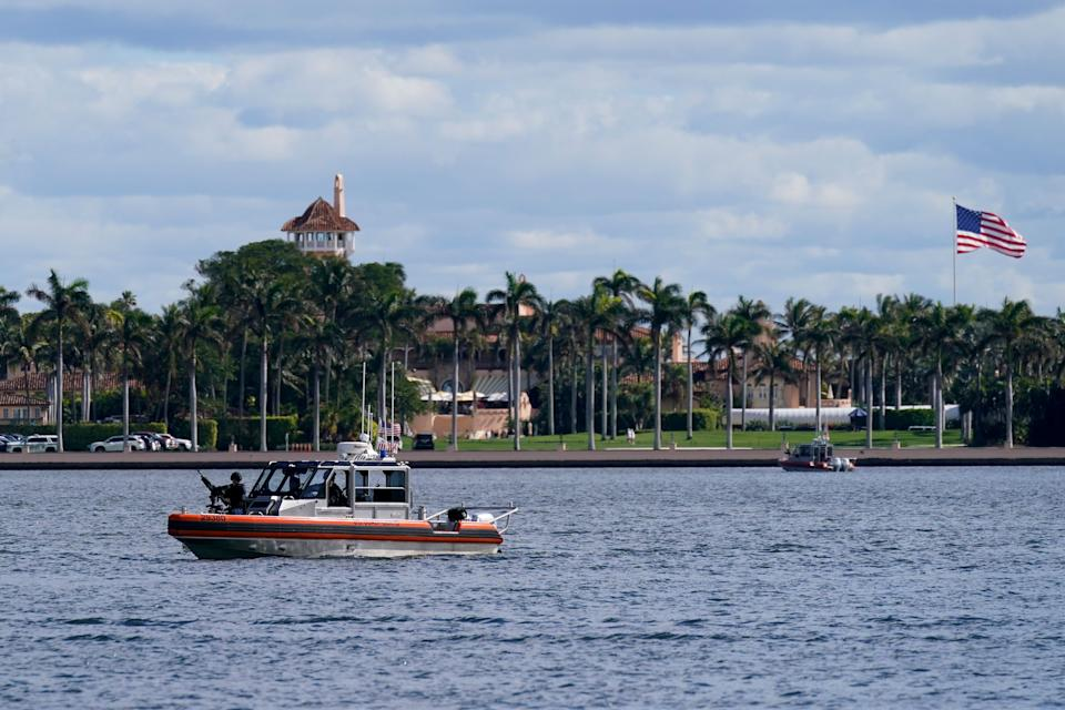 A security boat patrols near Mar-a-Lago on Jan. 20 in West Palm Beach, Florida. (Photo: Lynne Sladky/ASSOCIATED PRESS)