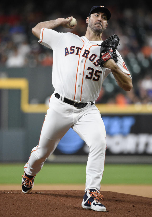 Houston Astros starting pitcher Justin Verlander delivers during the first inning of a baseball game against the Chicago White Sox, Tuesday, May 21, 2019, in Houston. (AP Photo/Eric Christian Smith)