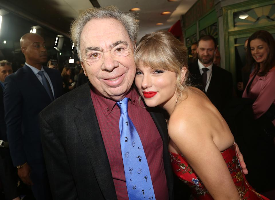 NEW YORK, NEW YORK - DECEMBER 16: Composer Andrew Lloyd Webber and Taylor Swift pose at the World Premiere of the new film