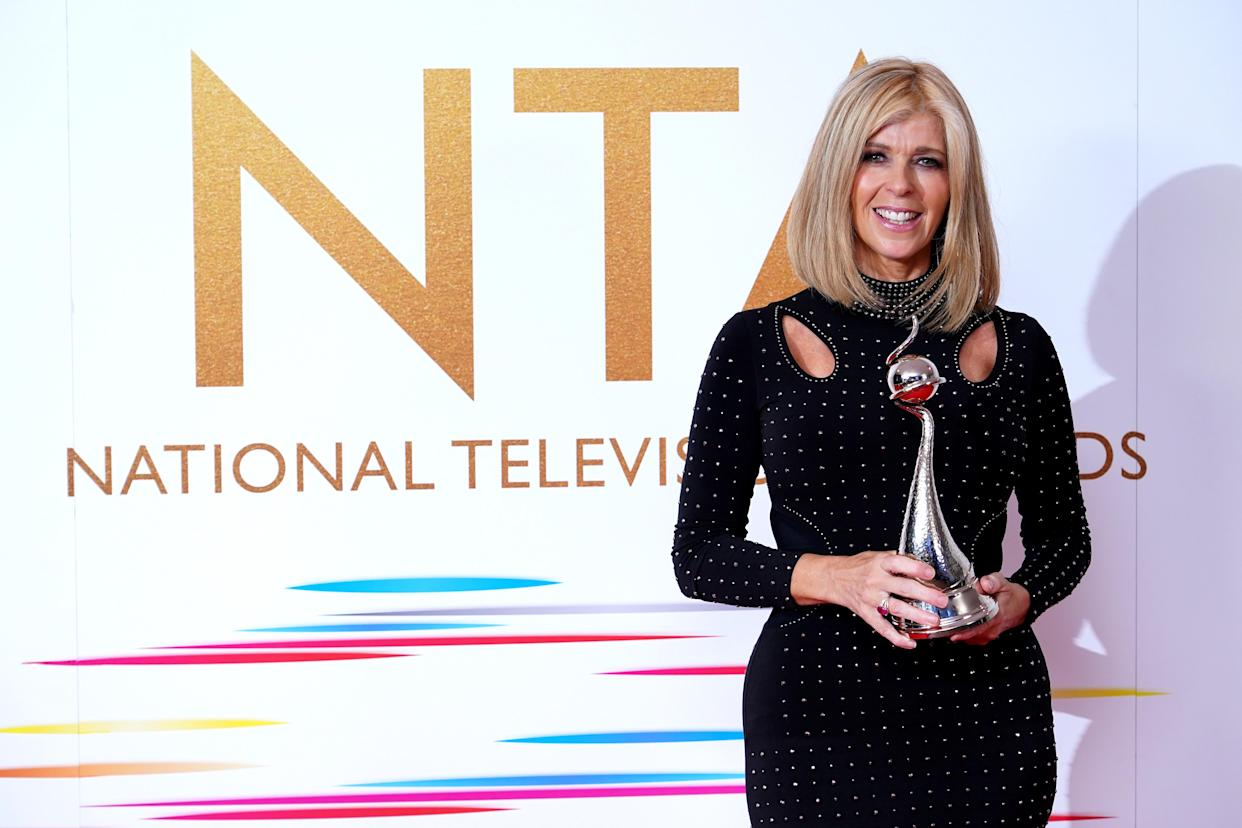 Kate Garraway in the press room after winning the Authored Documentary award for Kate Garraway: Finding Derek at the National Television Awards 2021 held at the O2 Arena, London. Picture date: Thursday September 9, 2021. (Photo by Ian West/PA Images via Getty Images)