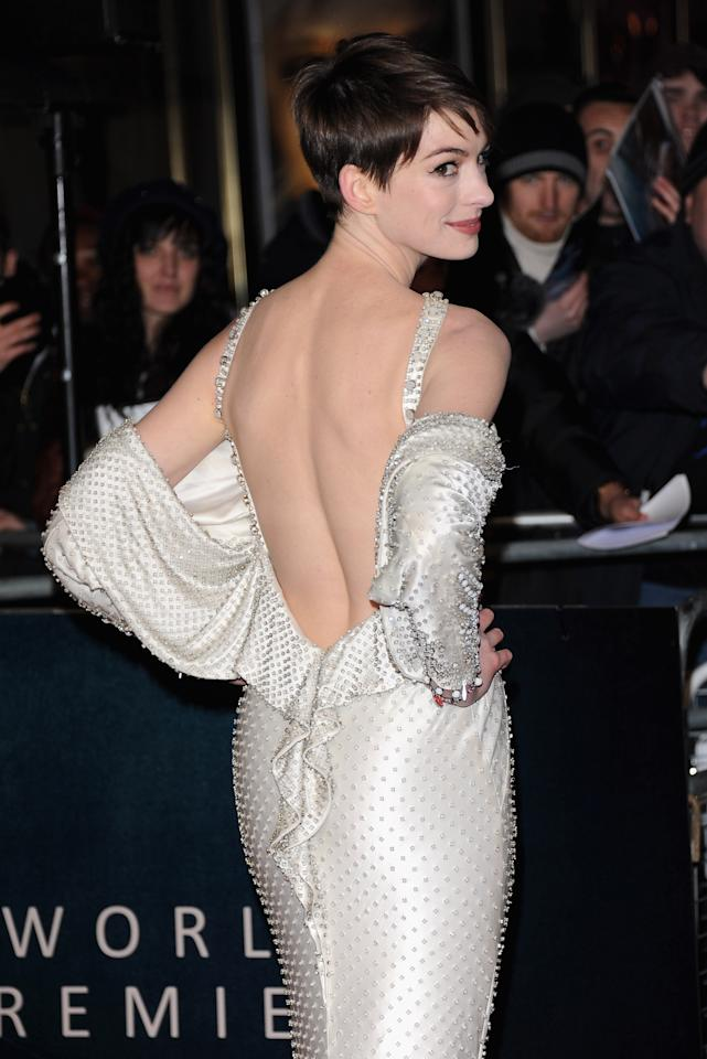 """LONDON, ENGLAND - DECEMBER 05:  Actress Anne Hathaway attends the """"Les Miserables"""" World Premiere at the Odeon Leicester Square on December 5, 2012 in London, England.  (Photo by Stuart Wilson/Getty Images)"""