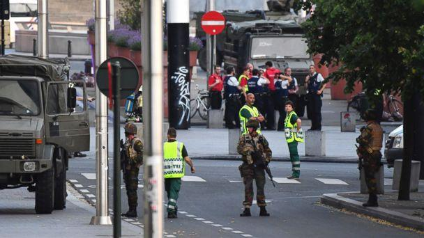 PHOTO: Belgian Army soldiers and police patrol outside Central Station after a reported explosion in Brussels on June 20, 2017. (Geert Vanden Wijngaert/AP)