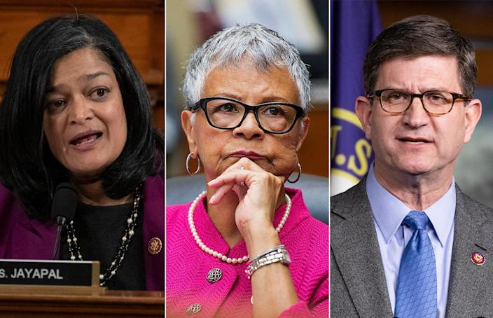 Left to right: Representatives Pramila Jayapal, Bonnie Watson Coleman, and Brad Schneider, who tested positive for COVID-19 after sheltering in place with other House members during the Capitol riot. / Credit: Getty Images